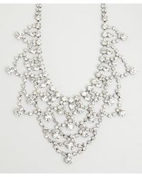 Kenneth Jay Lane | Metallic Silver And Crystal Bib Necklace | Lyst