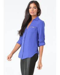 Bebe | Blue Zip Pocket Tunic | Lyst