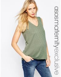 ASOS | Green Textured Top With V Neck | Lyst