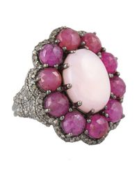 Bavna | Metallic Sterling Silver Champagne Rosecut Diamond Ring With Oval Pink Opal Surrounded By Pink Sapphires | Lyst