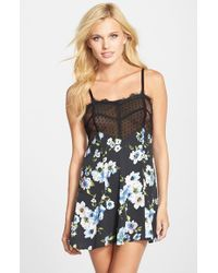 Band Of Gypsies | Black Lace Trim Chemise | Lyst