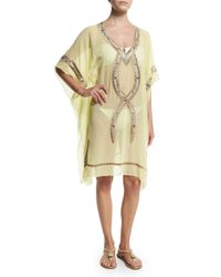 6 Shore Road By Pooja - Yellow Beaded Kuna Kaftan Coverup - Lyst