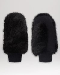 Whistles - Black Faux Fur Knit Mittens - Lyst