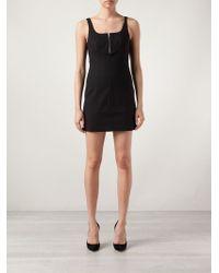 T By Alexander Wang | Black Zip Detail Mini Dress | Lyst