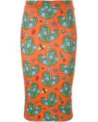 House of Holland | Orange Cactus-Print Stretch-Cotton Tube Skirt | Lyst