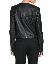 Mango   Black Cropped Leather Jacket   Lyst
