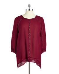 DKNY | Purple Plus Embellished Chiffon Blouse | Lyst