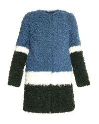 Shrimps - Blue Plum Colour-block Faux-fur Coat - Lyst