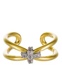 Giles & Brother | Metallic Skinny X Knot Crystal Pave Ring | Lyst