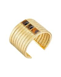 Vince Camuto | Metallic Textured Tigers Eye Stone Cuff Bracelet | Lyst