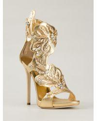 Giuseppe Zanotti | Metallic Leaves Sandals | Lyst