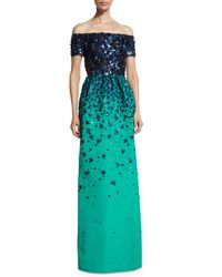 Oscar de la Renta - Blue Embellished Off-the-shoulder Degrade Gown - Lyst