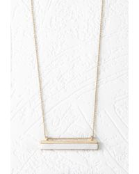 Forever 21 - Metallic Faux Stone Bar Necklace - Lyst