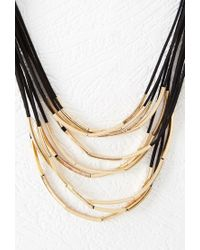 Forever 21 - Black Tube Bead Layered Necklace - Lyst
