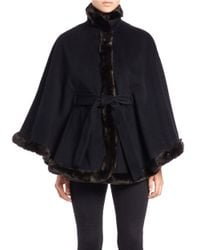 Ellen Tracy | Black Faux Fur-trimmed Belted Cape | Lyst