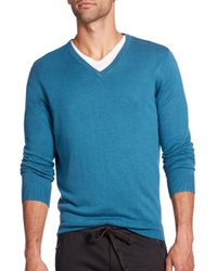 Saks Fifth Avenue | Blue Silk Blend V-neck Sweater | Lyst