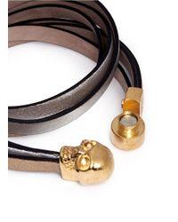 Alexander McQueen | Multicolor Skull Double Wrap Leather Bracelet | Lyst