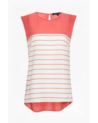 French Connection | Pink Polly Striped Top | Lyst