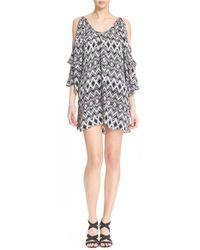 Parker - Black 'agave' Floral Print Cold Shoulder Silk Dress - Lyst