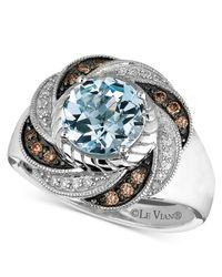 Le Vian - Blue Aquamarine (1-1/2 Ct. Chocolate Diamond (1/8 Ct. T.w.) And Diamond Accent Swirl In 14k White Gold - Lyst