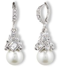 Givenchy | Metallic Crystal And Glass Pearl Drop Earrings | Lyst