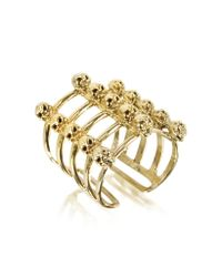 Bernard Delettrez | Metallic Cage And Skulls Bronze Ring | Lyst