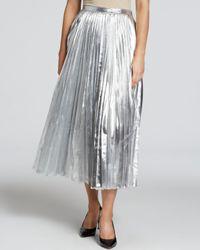 139ffcbbdc DKNY Metallic Pleated Midi Skirt in Metallic - Lyst