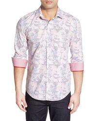 Bugatchi - Pink Classic Fit Optic Print Sport Shirt for Men - Lyst