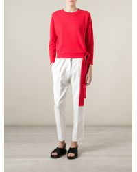 MM6 by Maison Martin Margiela - Red Tie Cropped Sweatshirt - Lyst