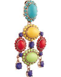 Oscar de la Renta - Multicolor Rose Gold-Plated Cabochon Clip Earrings - Lyst