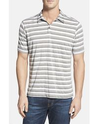 Tommy Bahama | Gray 'Fray Day Shadow' Original Fit Stripe Pima Cotton Polo for Men | Lyst