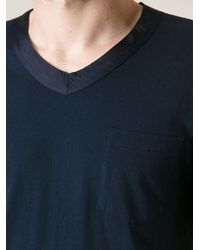Sacai | Black Contrasting Neck Trim Chest Pocket Basic T-Shirt for Men | Lyst