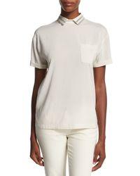 Brunello Cucinelli - White Short-sleeve Monili-collar Silk-blend Top - Lyst