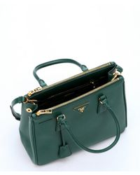 Prada - Green Leather 'Lux' Small Convertible Tote Bag - Lyst