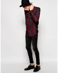 ASOS - Multicolor Viscose Shirt In Burgundy And Grey Check In Regular Fit for Men - Lyst