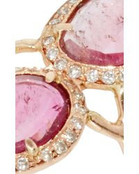 Jacquie Aiche | Pave Mini Pink Toumaline Slice Trinity Ring | Lyst