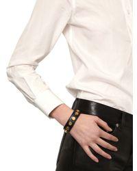 Saint Laurent | Black Studded Leather Cuff Bracelet | Lyst