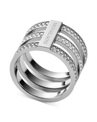 Michael Kors | Metallic Clear Pavé Tristack Ring | Lyst