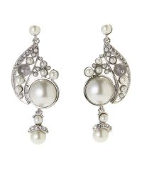 Givenchy | Metallic Silver-Tone Faux Pearl Accented Earrings | Lyst