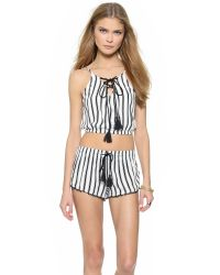House of Harlow 1960 - Black Rodeo Cropped Bubble Tank - Sear Stripe - Lyst
