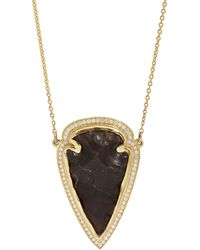 Pamela Love | Black Jasper White Diamond Gold Arrowhead Pendant Necklace | Lyst