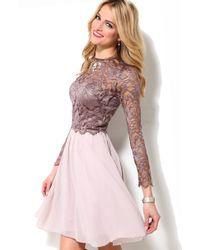 Little Mistress | Pink Long Sleeve Lace Bodice Dress | Lyst