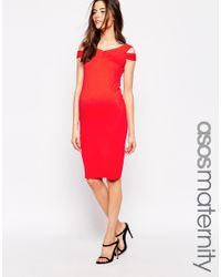 ASOS - Red Bodycon Dress With Bardot Strap Detail - Lyst