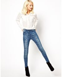 Just Female   Blue Camo Skinny Jeans   Lyst