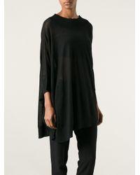 MM6 by Maison Martin Margiela - Black Asymmetric Sweater - Lyst