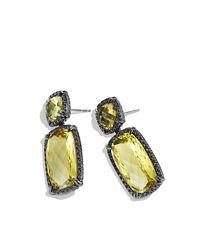 David Yurman - Yellow Chatelaine Lemon Citrine and Black Diamond Double-Drop Earrings - Lyst