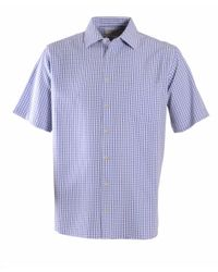 Double Two | Blue Check Classic Fit Classic Collar Shirt for Men | Lyst