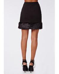 Missguided | Maddiee Crepe Fur Trim Mini Skirt Black | Lyst