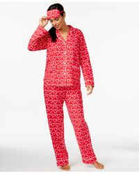 DKNY | Red Top And Pajama Pants Set With Matching Eyemask | Lyst