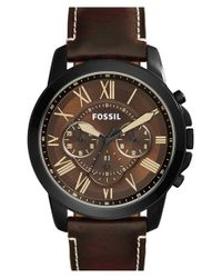 Fossil | Brown 'grant' Chronograph Leather Strap Watch for Men | Lyst